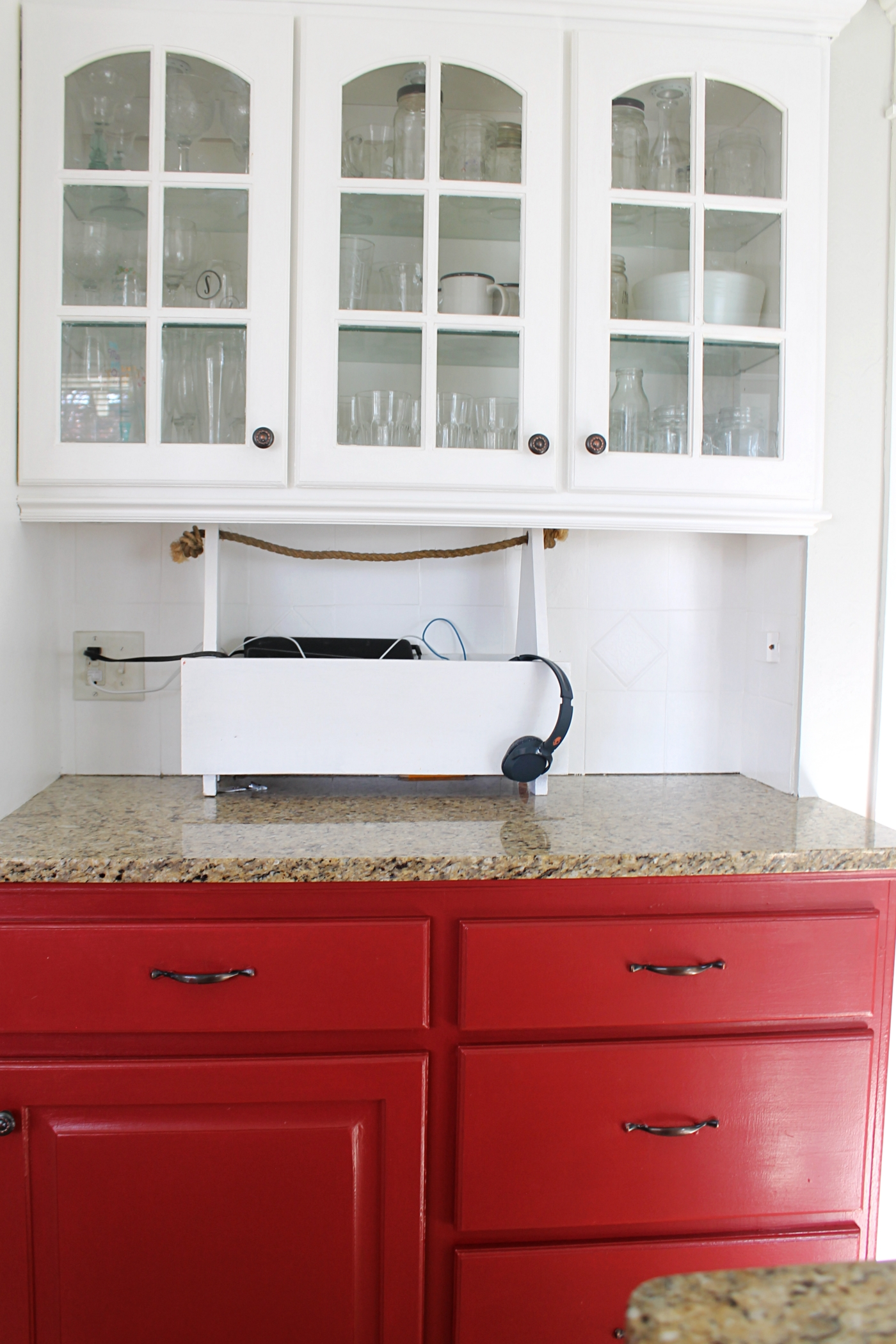 I Painted Our Kitchen Cabinets Red The Wicker House